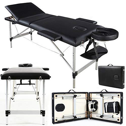 2 opvouwbare draagbare multifunctionele houten zwarte massagetafel, verstelbare hoogte PU leer met gezicht gat massage coach bed voor gezondheidszorg Club, zwemplaats, schoonheidssalon, fysiotherapie ziekenhuis 3 Section, Aluminium, Black