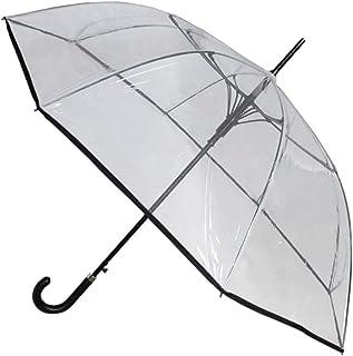 134 cm Arco - A Prueba DE Viento - Muy Fuerte - Paraguas Transparente - Estructura Reforzada con Fibra de Vidrio - Automático - Paraguas Largos - Grande - Ribete Negro