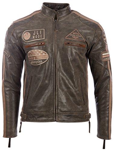 Herren echtes Leder Bikerjacke mit Bandkragen und Rennabzeichen von MDK, Marron (Desert Tan), 4XL