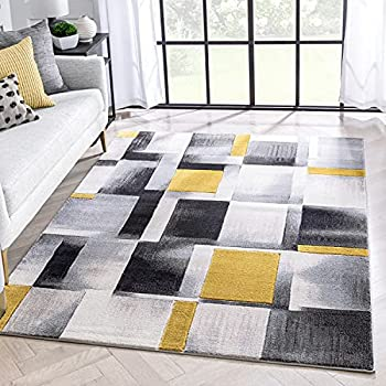 Mid-century modern yellow black and grey rug
