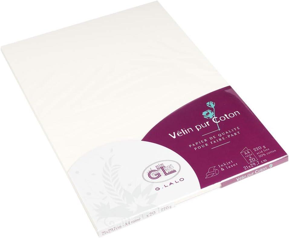 G.Lalo Papier à lettres en bloc velin pur coton A4 bloc de 40 feuilles 29,7 x 21