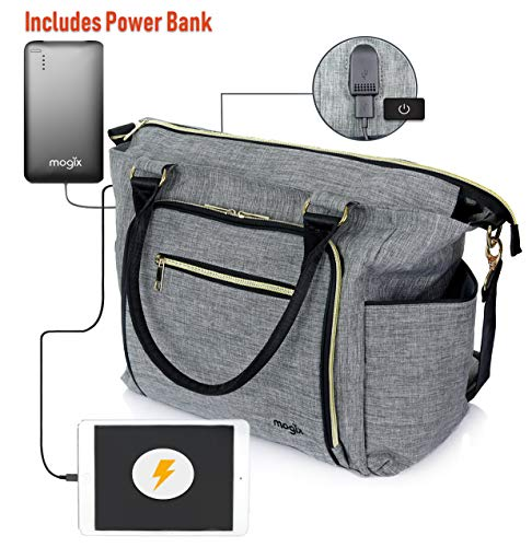 SMART Baby Diaper Bag with Portable Phone Charger, Changing Pad, Wet Dry Bag ~ Unisex, Best for Travel ~ Comes with Stackable Snack Container and Power Pack