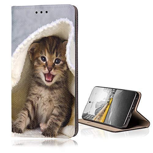 KX-Mobile Hülle für Samsung Galaxy Grand Prime Handyhülle Smart Magnet mit Motiv 445 Katze in Decke