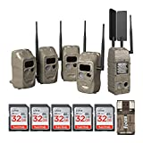 Cuddeback CuddeLink Powerhouse Cellular with J Series Black Flash Trail Camera (4-Pack), AT&T Bundle (5 Items)