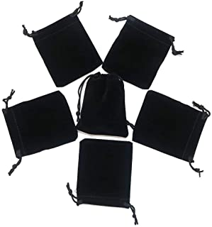 HRX Package Little Velvet Drawstring Pouches, 20pcs Black Velvet Cloth Bags for Jewelry Small Gift (2.8 X 3.6 inches)