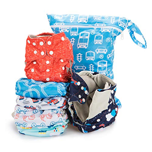 Simple Being Reusable Cloth Diapers- Double Gusset-6 Pack Pocket Adjustable Size-Waterproof Cover-6 Inserts-Wet Bag (Planes/Trains)