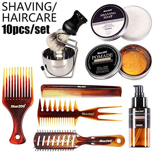 12PCS / Set Hombres Cuidado del Cabello Barba Aceite de Afeitar Cera para el Cabello Aceite Esencial Set Peine Acondicionador para el Cabello