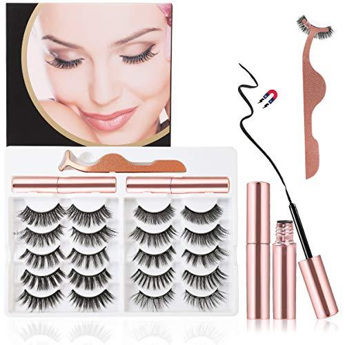 Magneticas, Strong Hold Magnetic Eyelashes with Eyeliner, 3D 6D Reusable Eyelash Extension Kit Natural Look, 10 Pairs False Eyelash & 2 Tubes Waterproof of Magnetic Eyeliner & 1 Tweezers