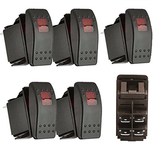 Qiorange 5X KFZ Auto Offroad Kippschalter Druckschalter Schalter Wippschalter Wasserdicht 12V 20A Rot LED Licht 4Pin AN/AUS