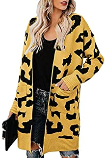 Suéter Rebeca de Las Mujeres, Casual Largo Doble del Bolsillo de Leopardo de Manga Larga Floja Que Hace Punto Tapas de Las...
