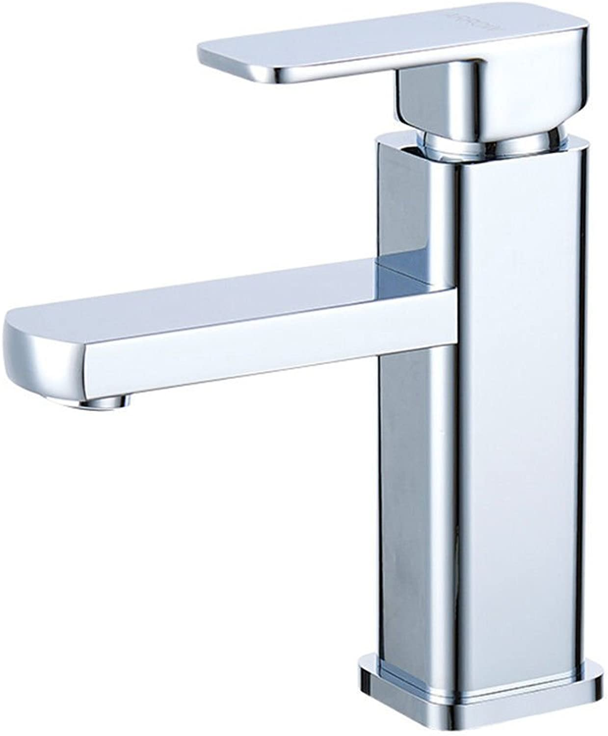Lalaky Taps Faucet Kitchen Mixer Sink Waterfall Bathroom Mixer Basin Mixer Tap for Kitchen Bathroom and Washroom Column Single Hole Hot and Cold Single Copper Short Square