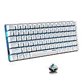Ajazz AK33 ゲーミングキーボード 82キー 防衝突 防水 メカニカルキーボード デスクトップラップトップキーボード 有線 18種バックライト USBケーブル取り外し可能 (ホワイト&青い光(青軸))