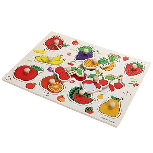Holz Steckpuzzle Obst Früchte Pädagogisches Puzzle Spielzeug Steckpuzzle Spielzeug und Spiele für Kinder Baby Kleinkinder
