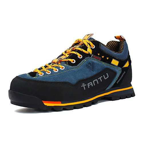 Autumn and Winter Outdoor Shoes,Men's Hiking Shoes,Waterproof Suede Leather Breathable Lightweight Walking Shoes Leisure Mountain Climbing Shoes (8.5, Blue)
