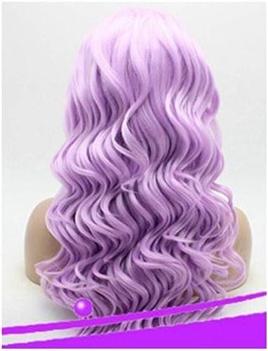 i wingg HitzeBeste ige Cosplay Partei Haar Perücke Mode Harajuku Stil,Einfarbige Lavendel Lange Rolle halbe handgemachte Spitzeperücke Perücke halb handgemachte Spitze