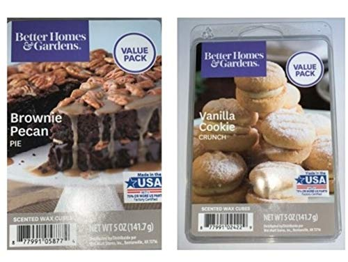 Better Homes and Gardens Wax Cubes Baking Scented Melts, 2-Pack Value Pack Bundle (5-oz Vanilla Cookie Crunch + 5-oz Brownie Pecan Pie)