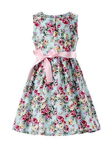 PrinceSasa Cotton Dresses for Toddler Girls Dresses Clothes,Mint flower2,2-3 Years(Size 100)