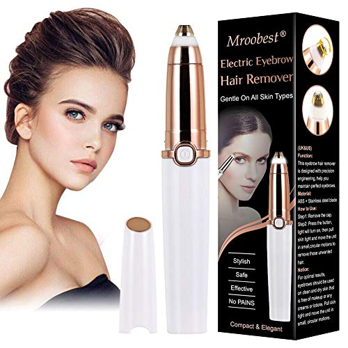 Eyebrow Trimmer for women, Eyebrow Hair Remover, Painless Portable Precision Electric Eyebrow Hair Trimmer, Epilator for women Eyebrows with LED Light, Rose Gold (Batteries not Included)