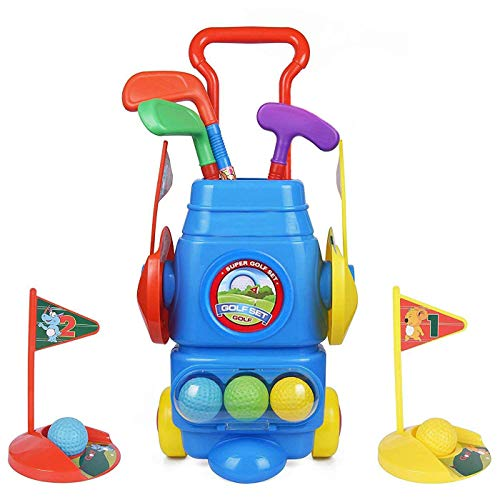 Toyvelt Kids Golf Club Set – Golf CartWith Wheels, 3 Colorful Golf Sticks, 3 Balls & 2 Practice Holes – Fun Young Golfer Sports Toy Kit for Boys &Girls – Promotes Physical & Mental Development
