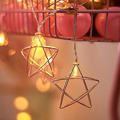 xmksd LED cadena luces USB/batería hierro estrella interior dormitorio terraza jardín exterior decoración hada decoración Navidad luz luz luciérnaga (color: estrella) 4 metros 20 luces