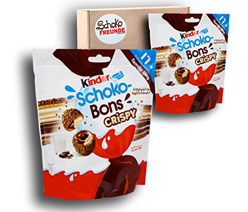 Schokobons Crispy (2 x 89g) - Kinder Schoko bons - Kinderschokolade Geschenk aus Dubai - luftige Waffel umhüllt von knuspriger Kakaoschicht - Schoko-Vanille Füllung - 2x Packungen je 16St.