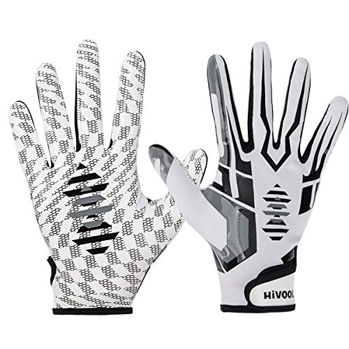 Hivool Football Receiver Gloves, Ultra-Stick Tight Sports Receiver Glove, Breathable and Non-Slip Silicone Grip Glove, Enhanced Performance Football Gloves for Youth & Adult (L & XLSizes)