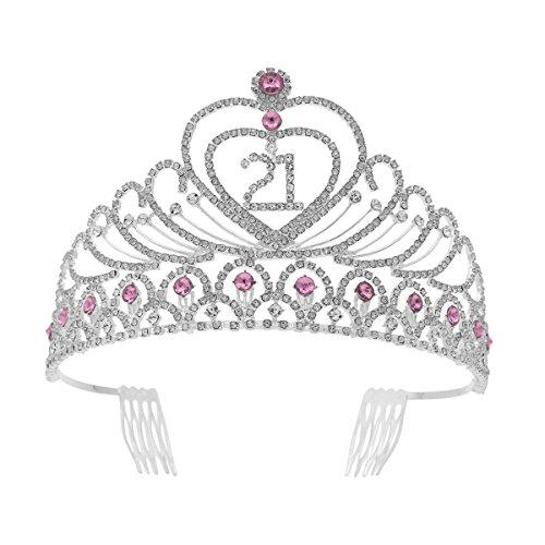 Tiara de aniversário com strass e cristal, coroa de 21 anos (rosa)