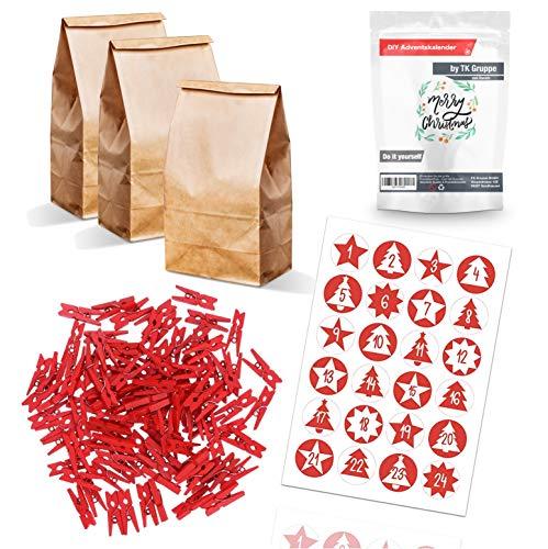TK Gruppe Timo Klingler DIY Set Adventskalender zum selber basteln - mit 24x Tüten, Kraftpapiertüten, Holzklammern, Aufkleber Etiketten 1-24 zu Weihnachten (Set Xmas)