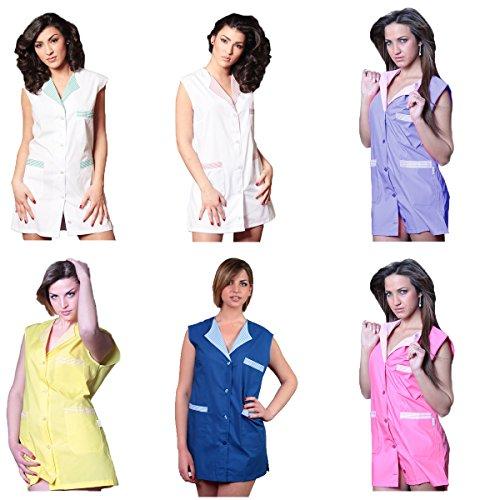 Ärmelloser Arbeitskittel für Damen, geeignet für Schulen, Metzgereien, Lebensmittelgeschäfte, Arbeiterinnen, Küchen L blau