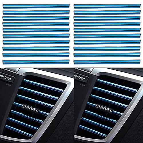20Pezzi Strisce Decorative per Bocchetta Dell'aria Dell'auto, a forma di U, Strisce interna dell'auto, Uscita Della Griglia di Ventilazione Cromata Strisce, Blu Brillante