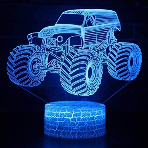 3D Illusionslampe LED Nachtlicht Monster Truck Modell für Kinder Schlafzimmer Dekoration Kreative Geschenke Kinder Weihnachtsferien Geschenke