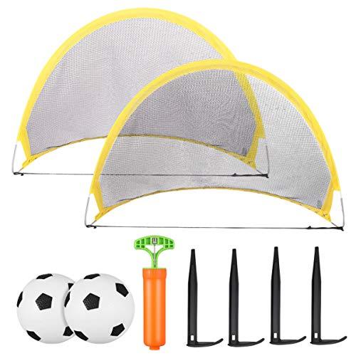 CLISPEED Mini portería de fútbol, 2 unidades, portátil, red de fútbol pop up con bolas y bomba, para niños de interior y exterior