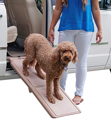 Pet Gear Travel Lite Bi-Fold Ramp for Cats/Dogs, Lightweight/Portable, Safety Tether Included, Rubber Grippers for Stability, PG9050TN