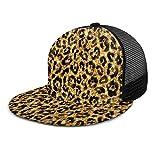 Cool Shine Gold Black Leopard Animal Print Snapback Hat Gorra de Camionero con Malla en la Espalda Gorra de béisbol Ajustable Plana de Hip Hop