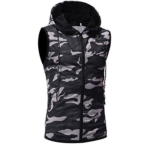 Men's Summer Tank Tops Camouflage Print Hooded T-Shirt Casual Sport Pure Color Designer Sleeveless Shirt Gym Holiday Cotton Cool Slimming Vest Top
