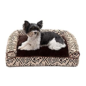 Furhaven Pet Dog Bed – Plush Kilim Southwest Home Decor Pillow Cushion Traditional Sofa-Style Living Room Couch Pet Bed with Removable Cover for Dogs and Cats, Desert Brown, Small