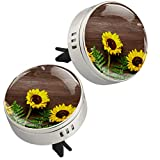 Sunflowers Fern Leaves On Wooden Texture Background Car Perfume Car Air Freshener Vent Clip Fragrance Car Smell Airfreshener Perfume Diffuser (silvery)