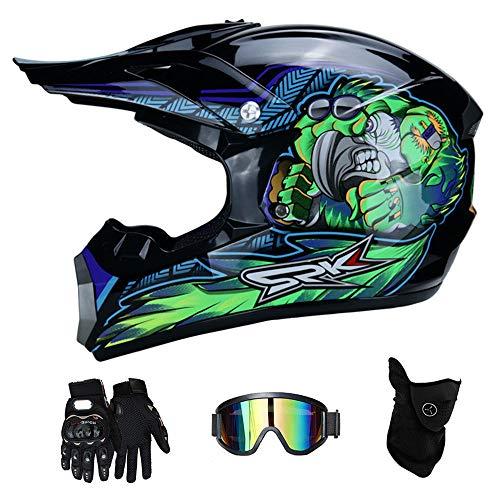 RAON Motocross Motorcycle Motorcycle Helme & Gloves & Goggles D.O.T Zertifizke Kinder Quad Bike ATV Go Karting Helm,BlueTropical,S(52~53cm)