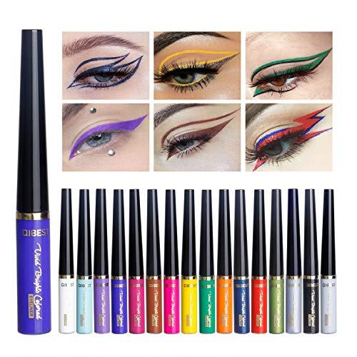 Rechoo Glitter Liquid Eyeliner Langlebig Wasserdicht Sparkling Eyeliner Lidschatten Stift (16 Pcs)