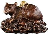lqgpsx Zodiac Feng Shui Escultura de ratón/Rata de latón,decoración de Feng Shui Que atrae la decoración de la Oficina en casa,estatuilla de Rata Coleccionable,Buena Suerte,Regalos de Riqueza 0911