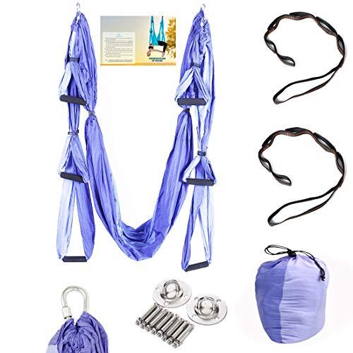 Geelife Aerial Yoga Hammock Set Yoga Swing Kit Trapeze for Yoga Antigravity Inversion Hanging Equipment (Purple)