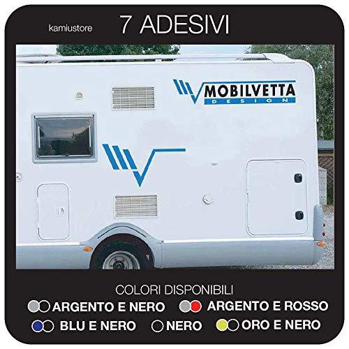 kamiustore Adesivo Mobilvetta per Camper, roulotte in Vinile - Kit 7 Adesivi componibili (Rosso/Argento)