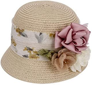 Hats Beach hat with Flower Decoration Summer hat Women's Cool Straw hat Fashion (Color : Beige, Size : M)