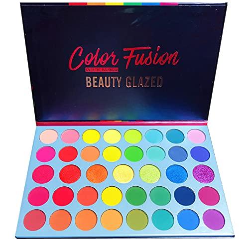 Beauty Glazed Color Fusion 39 Shades Metallic- und Shimmers-Lidschatten Hochpigmentiertes Make-up Palette Leicht zu mischen Schweißfeste und wasserdichte Lidschatten