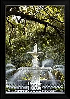 CANVAS ON DEMAND Georgia, Savannah, Fountain in Forsyth Park, Historic District Black Framed Art Print, 19