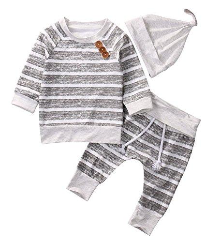 Newborn Baby Boys Girls Hooded Sweatshirt T-Shirt Tops+Striped Pants Kids Outfits Clothes Set (Grey Stripe, 0-3Months)