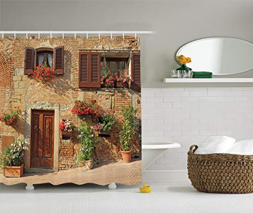 SHUHUI Kollektion: toscane Architektur, Mediterranea Hülle & Blumen aus italienischen Colliers, Città Druck Vorhang mit Braun Lungo Elfenbein