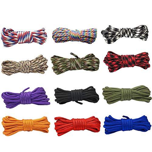 12pcs Paracord Multicolore Multifonction Paracordes pour Parachute Bracelet Cordes DIY Cordes en paracorde, 4 mm Couleur 7 Cordes en Nylon pour Bricolage Fait Main Corde de Survie activités de Camping