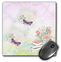 3dRose Mouse Pad Image of Purple Butterflies Float Near Pail of Roses and Books - 8 by 8-Inches (mp_295150_1) [並行輸入品]