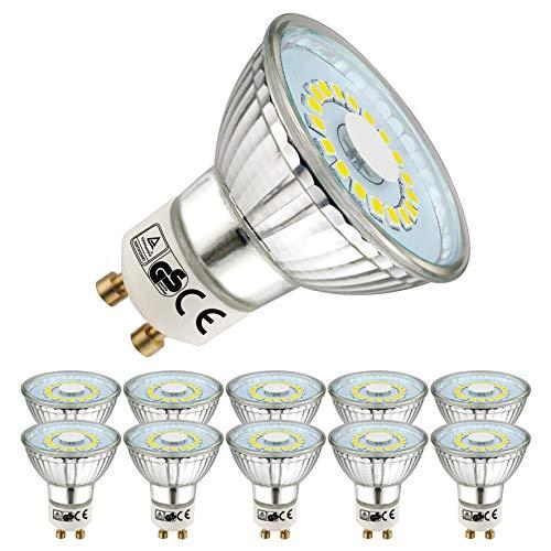 EACLL Bombillas LED GU10 6000K Blanco Frio 5W 450 Lúmenes Equivalente 50W Halógena. 120 ° Luz Diurna Blanca Fría Spotlight LED, 10 Pack